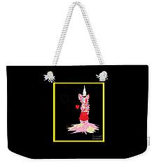 Weekender Tote Bag featuring the digital art Clown Love by Ann Calvo