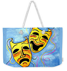 Weekender Tote Bag featuring the painting Comedy And Tragedy by Nora Shepley