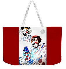 Weekender Tote Bag featuring the painting Clowns In Heaven by Nora Shepley