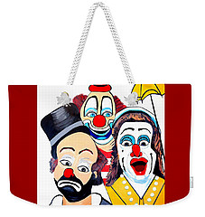 Weekender Tote Bag featuring the painting Clowns In Shock by Nora Shepley