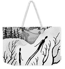 Weekender Tote Bag featuring the digital art Clutching Shadows by Carol Jacobs