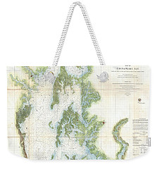 Coast Survey Chart Or Map Of The Chesapeake Bay Weekender Tote Bag by Paul Fearn