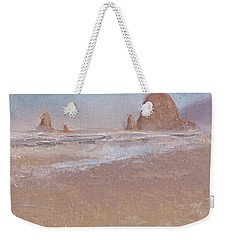 Coastal Escape  Cannon Beach Oregon And Haystack Rock  Weekender Tote Bag by Karen Whitworth