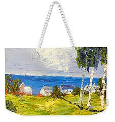 Weekender Tote Bag featuring the painting Coastal Fishing Village by Pamela  Meredith
