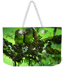 Cobalt-winged Parakeets Weekender Tote Bag by Art Wolfe