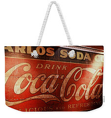 Weekender Tote Bag featuring the photograph Coca Cola Sign by Rodney Lee Williams