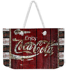 Coca Cola Sign With Little Cokes Border Weekender Tote Bag by John Stephens