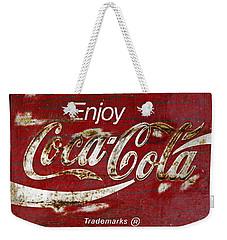 Coca Cola Wood Grunge Sign Weekender Tote Bag