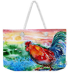 Weekender Tote Bag featuring the painting Cock A Doodle Doo  by Trudi Doyle
