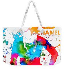 Coco Chanel Paint Splatter Weekender Tote Bag by Dan Sproul
