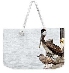 Weekender Tote Bag featuring the photograph Coexist by AJ  Schibig