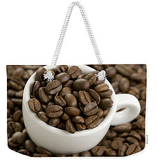 Weekender Tote Bag featuring the photograph Coffe Beans And Coffee Cup by Lee Avison