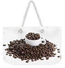 Weekender Tote Bag featuring the photograph Coffee Beans And Coffee Cup Isolated On White by Lee Avison