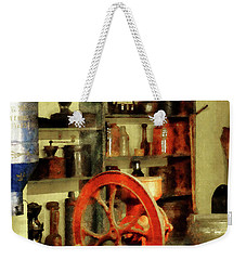 Weekender Tote Bag featuring the photograph Coffee Grinder And Canister Of Sugar by Susan Savad