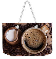 Weekender Tote Bag featuring the photograph Coffee With A Smile by Aaron Aldrich