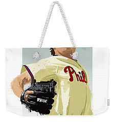 Weekender Tote Bag featuring the digital art Cole Hamels by Scott Weigner