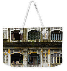 Colonial Facade Bo Soon Pat Street 8th Ward Central Yangon Burma Weekender Tote Bag by Ralph A  Ledergerber-Photography