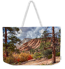 Weekender Tote Bag featuring the photograph Color Competition At Zion National Park by John M Bailey