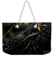 Weekender Tote Bag featuring the photograph Color Dots Spider Net by Yulia Kazansky