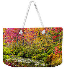 Weekender Tote Bag featuring the photograph Color On The Water by Mike Ste Marie