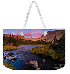 Weekender Tote Bag featuring the photograph Color Over  Indian Peaks by Steven Reed