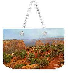 Colorado Natl Monument Snow Coming Down The Canyon Weekender Tote Bag