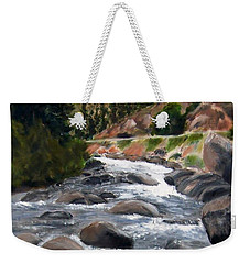 Weekender Tote Bag featuring the painting Colorado Rapids by Jamie Frier