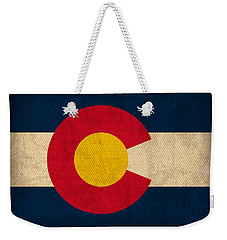 Colorado State Flag Art On Worn Canvas Weekender Tote Bag