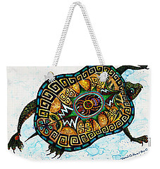 Colored Cultural Zoo C Eastern Woodlands Tortoise Weekender Tote Bag by Melinda Dare Benfield