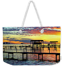 Weekender Tote Bag featuring the photograph Colored Glass by Faith Williams