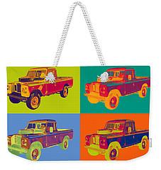 Colorful 1971 Land Rover Pick Up Truck Pop Art Weekender Tote Bag by Keith Webber Jr