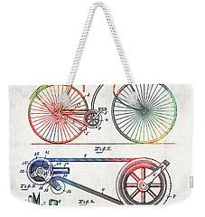 Colorful Bike Art - Vintage Patent - By Sharon Cummings Weekender Tote Bag by Sharon Cummings