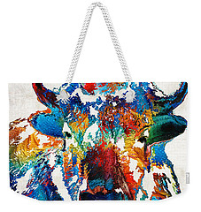 Colorful Buffalo Art - Sacred - By Sharon Cummings Weekender Tote Bag by Sharon Cummings