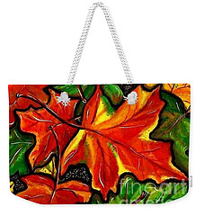 Weekender Tote Bag featuring the painting Colorful Carpet by Jackie Carpenter