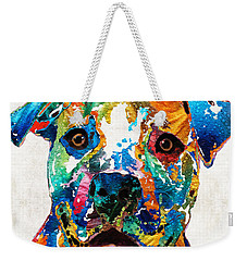 Colorful Dog Pit Bull Art - Happy - By Sharon Cummings Weekender Tote Bag