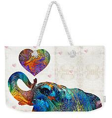 Colorful Elephant Art - Elovephant - By Sharon Cummings Weekender Tote Bag by Sharon Cummings