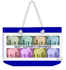 Weekender Tote Bag featuring the painting Colorful Elephants by Marian Cates