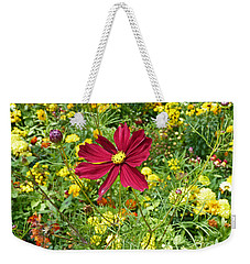 Colorful Flower Meadow With Great Red Blossom Weekender Tote Bag
