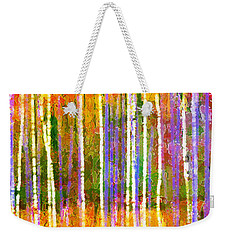 Colorful Forest Abstract Weekender Tote Bag by Menega Sabidussi