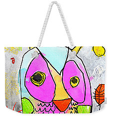 Weekender Tote Bag featuring the painting colorful Owl by Greg Moores