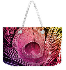 Colorful Peacock Feather Weekender Tote Bag by Eva Csilla Horvath