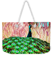 Weekender Tote Bag featuring the photograph Colorful Peacock by Matt Harang
