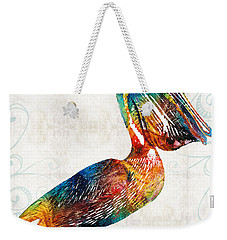 Colorful Pelican Art 2 By Sharon Cummings Weekender Tote Bag by Sharon Cummings