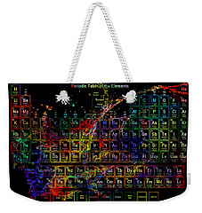Colorful Periodic Table Of The Elements On Black With Water Splash Weekender Tote Bag