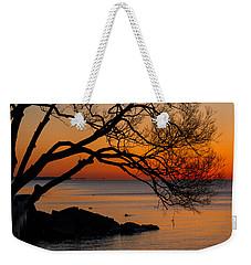 Colorful Quiet Sunrise On Lake Ontario In Toronto Weekender Tote Bag by Georgia Mizuleva