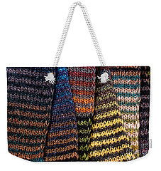 Weekender Tote Bag featuring the photograph Colorful Scarves by Les Palenik
