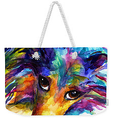 Colorful Sheltie Dog Portrait Weekender Tote Bag