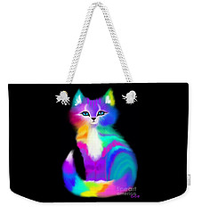 Colorful Striped Rainbow Cat Weekender Tote Bag by Nick Gustafson