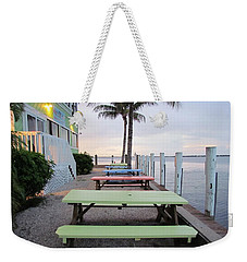 Weekender Tote Bag featuring the photograph Colorful Tables by Cynthia Guinn