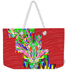 Weekender Tote Bag featuring the photograph Colorful Tree Of Life Abstract Red Sparkle Base by Navin Joshi